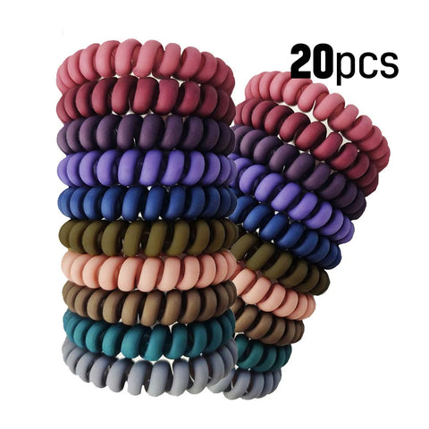 20 Pcs Spiral Hair Ties No Crease - Colorful Coil Traceless Hair Ties, Matte Phone Cord Hair Ties Accessories for Women Girl