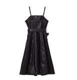 Women's Solid Color Strapless Black PU Leather High Waist Belt Loose Dress (black One Size)