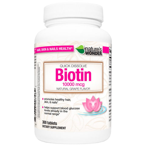 Biotin 10000mcg Grape Flavor Quick Dissolve Tablets Healthy Hair, Skin And Nails