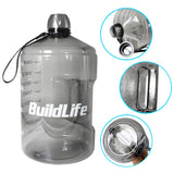 QuiFit Sports Water Bottle with Motivational Time Marker 43 oz Gray Jug w Handle