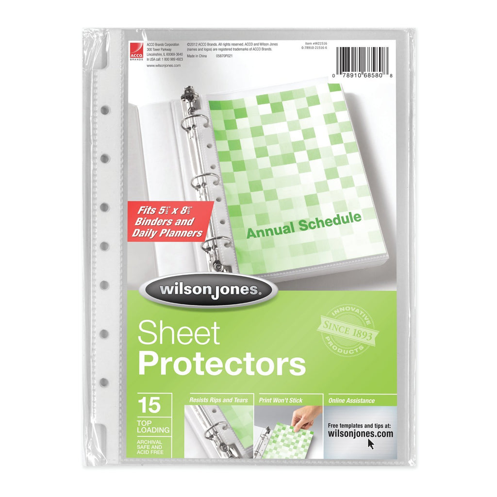 Wilson Jones Top-Loading Mini Sheet Protectors 5.5 x 8.5 Inches Clear 15 Pack