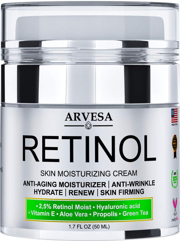 2.5% Active Retinol Moisturizer Cream for Face and Eye Area with Hyaluronic Acid