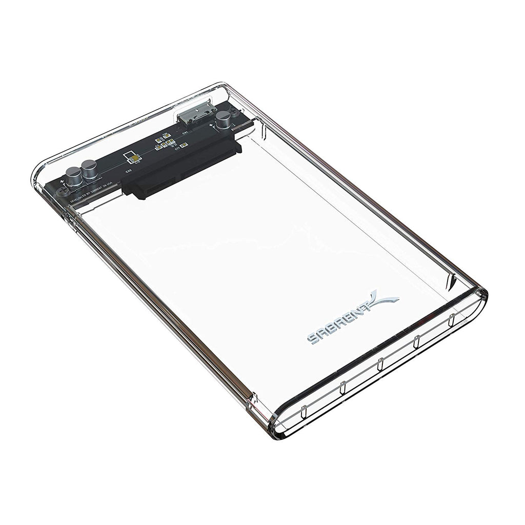Sabrent 2.5-Inch SATA to USB 3.0 Tool-Free External Hard Drive Enclosure - Clear