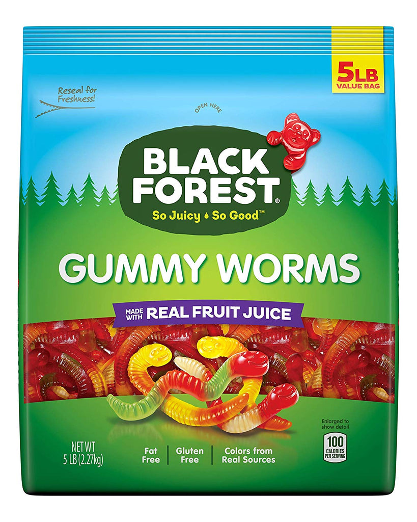 Black Forest Gummy Worms Candy 10 Pound, 2 Pack x 5 lbs Made w/ Real Fruit Juice