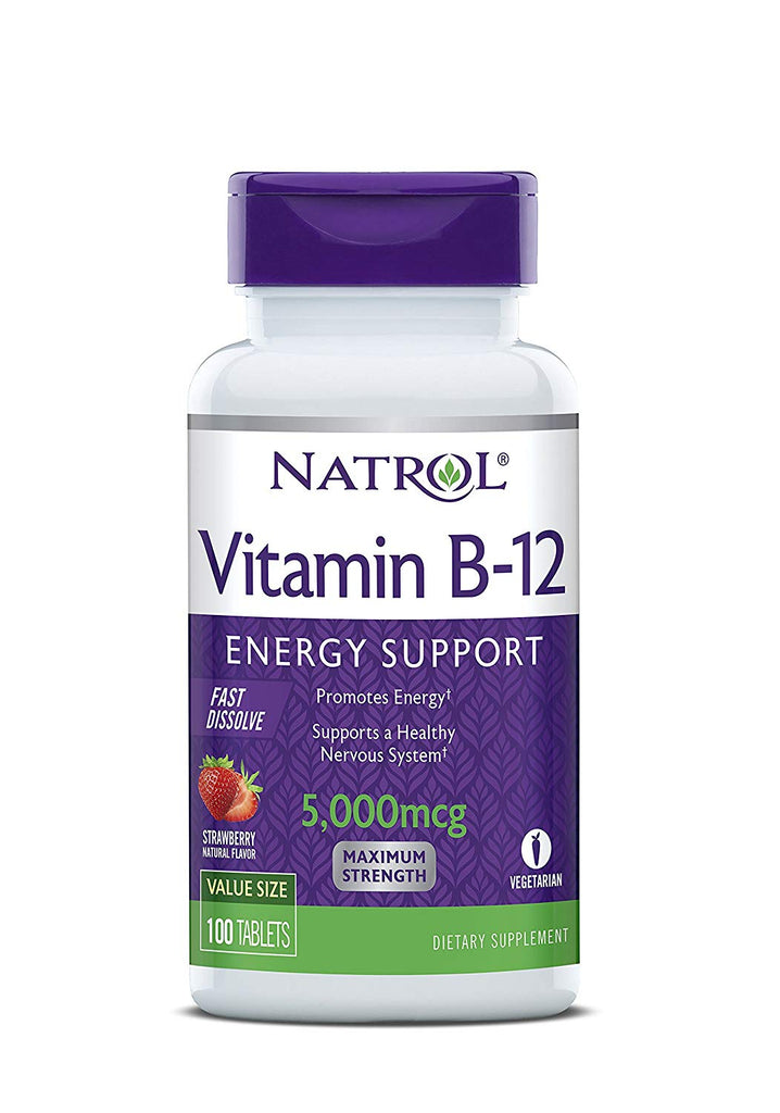 Natrol Vitamin B12 Fast Dissolve Tablets, Promotes Energy, Supports a Healthy Nervous System, Maximum Strength, Strawberry Flavor, 5,000mcg, 200 Count