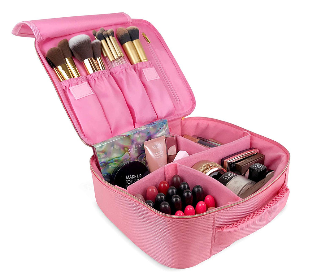 Makeup Travel Bag by l 3-in-1 Makeup Brush Case Full-Size Brushes & Palettes
