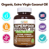 Organic Coconut Oil 2000mg Superfood Softgels MCT's Virgin Non-GMO 60 Softgels