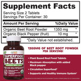 Organic Superfood Beet Root Powder Beetroot Nitric Oxide Supplement 60 Tablets