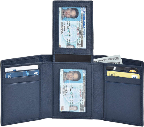 2 ID Windows Trifold Leather Wallet for Men Slim Design RFID Credit Card Holders