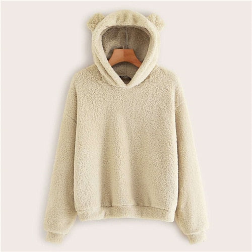 Bears Ears Solid Teddy Hoodie Pullovers Sweatshirt Women's Sweatshirts