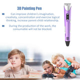 3D Graffiti Painting Pens Digital Display ABS 3D Printing Pen w/ USB Cable 5V 2A