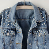 Plus Size Pearl Beading Short Denim Jackets 3Xl 5Xl Women's Wash Long Sleeve