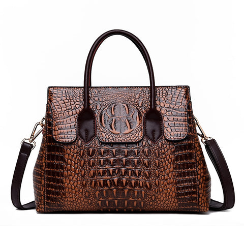 Vintage Genuine Leather Bag Women's Alligator Handbags Crossbody Tote