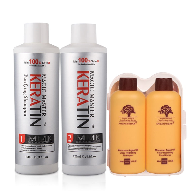 MMK Formalin Free Keratin Hair Treatment + Purifying Shampoo 120ml w/ Travel Kit