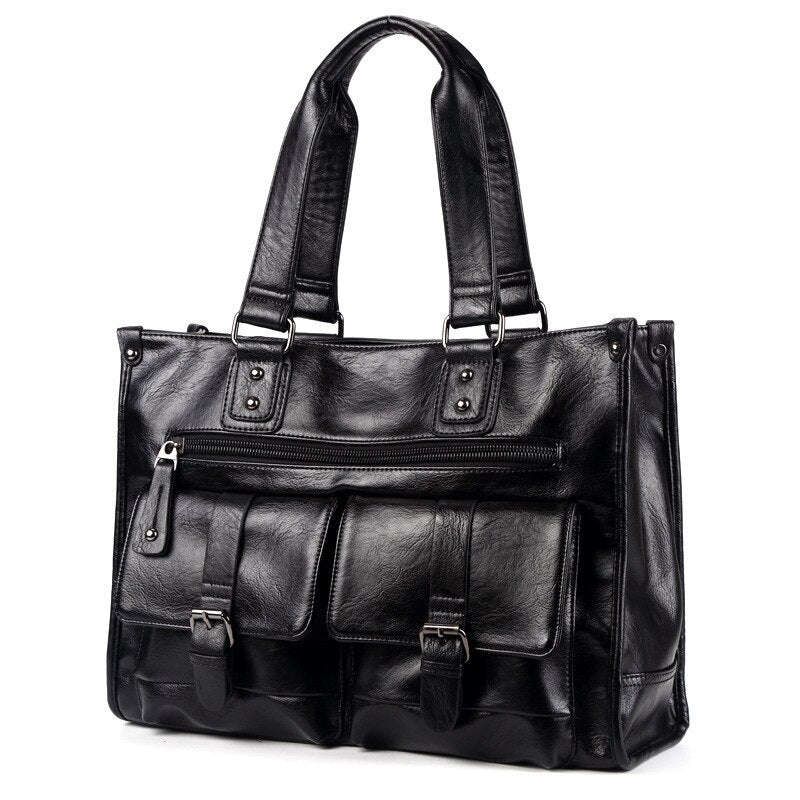 Men's Split Leather Handbag Messenger Bags Pocket Soft Handle Laptop Briefcases (1)