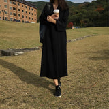 Korean Style Women's Long Dress Retro Solid Color V-neck Loose Long-sleeve