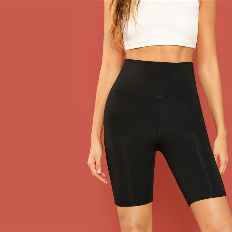 Black Casual Solid Crop Wide Waistband Cycling Short Leggings Pants Trousers