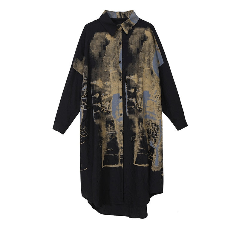 Women's Black Pattern Print Big Size Shirt Dress New Lapel Long Sleeve Loose Fit