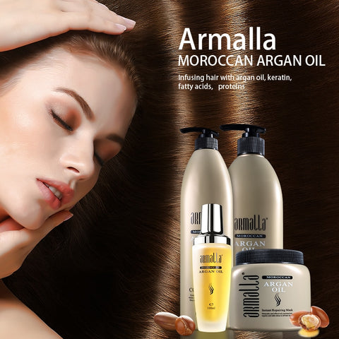 Armalla Moroccan Argan Oil 500ml Shampoo, Conditioner 500ml Hair Mask 100ml 4Pcs