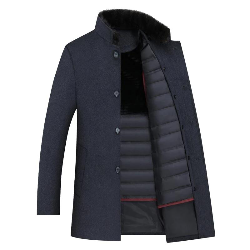 Men's Wool Trench Coats White Duck Down Jackets Thicken Wool Coats