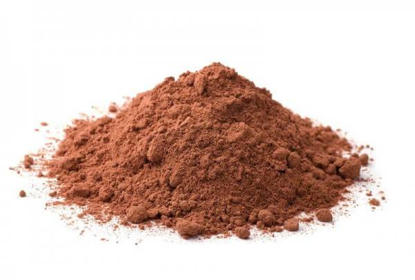 small mound of cocoa powder close up view