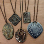 Ceramic Charm NECKLACES w/ copper chain