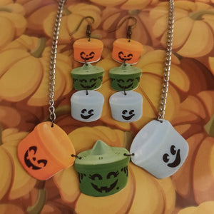 Halloween Boo Pails NECKLACE / EARRINGS