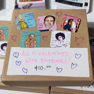 Box of 5 (Pop Culture) Valentines CARDS w/ Hand drawn envelopes