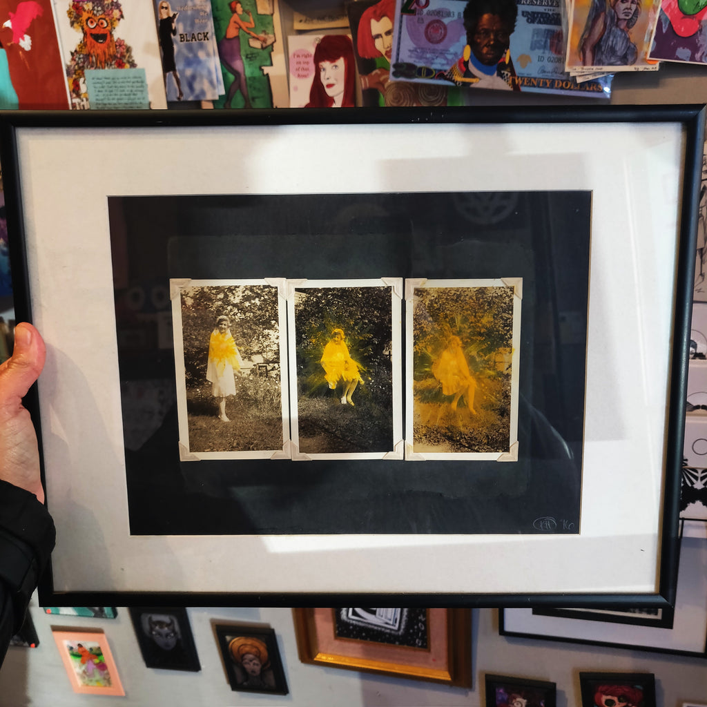 In the Flowers Framed mixed media piece