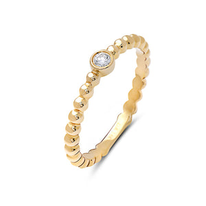 Beaded Bezel Set Diamond Band