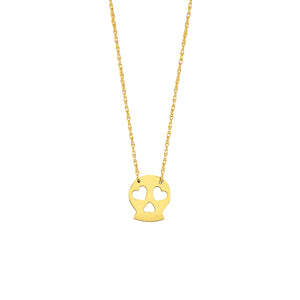 14k yellow gold mini skull necklace