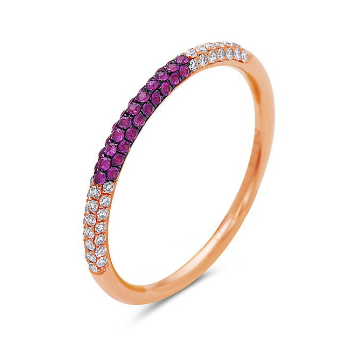 Ruby & Diamond Domed Half Band