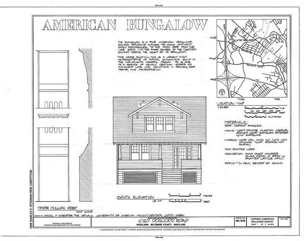 Classic Craftsman Bungalow house plan - 1920s