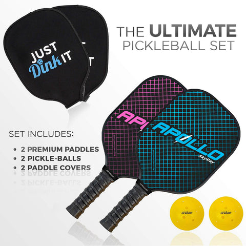SkyRay Blue & Pink Pickleball Paddle Set