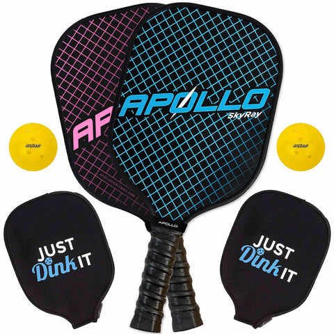 SkyRay Blue & Pink Pickleball Paddle Set (2-Pack)