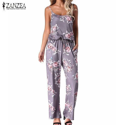 2019 Summer Women Sexy Backless Rompers Jumpsuits Casual Straight Floral Print Long Wide Leg Pants Playsuits Pockets Bodysuits