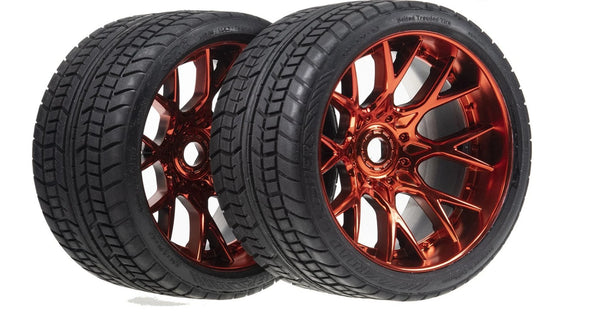 Sweep Racing SRC Monster Truck Road Crusher On road Belted Red Chrome Monster Truck Rubber Tires (2) NEW SWSRC1001R
