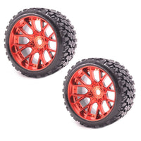 Sweep Racing SRC Monster Truck Terrain Crusher Offroad Belted Red Chrome Monster Truck Rubber Tires (2) NEW SWSRC1002R