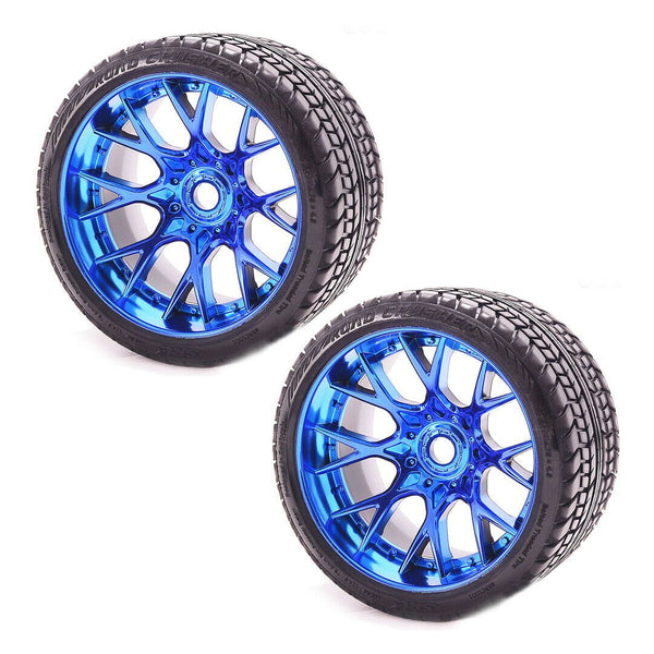 Sweep Racing SRC Monster Truck Road Crusher On road Belted tire preglued on WHD Blue Chrome wheel 2pc set