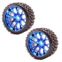 Sweep Racing SRC Monster Truck Terrain Crusher Offroad Belted Blue Chrome Monster Truck Rubber Tires NEW SWSRC1002BC