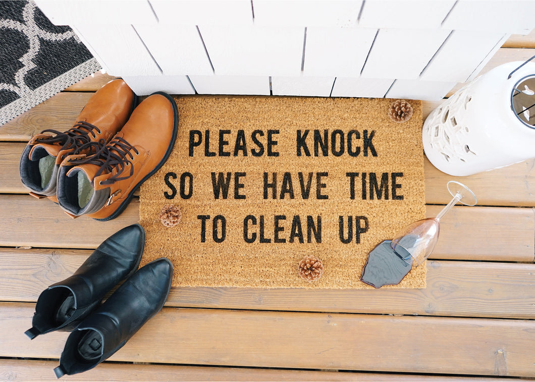 MonkeyFly memories Please Knock So We Have Time To Clean Up Doormat