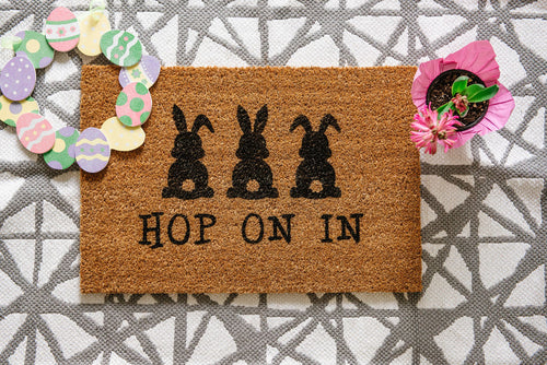 Hop On In Welcome Doormat
