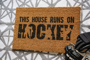 This House Runs On HOCKEY Welcome Doormat