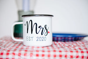 Mr. & Mrs. EST 2020 - 16oz Enamel Camping Mug