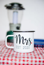 Load image into Gallery viewer, Mr. & Mrs. EST 2020 - 16oz Enamel Camping Mug
