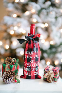 Holiday Survival Kit *** In Case of Emergency Pull Cork Reusable Wine Bag
