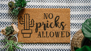 No Pricks Allowed (cactus outline) Welcome Doormat