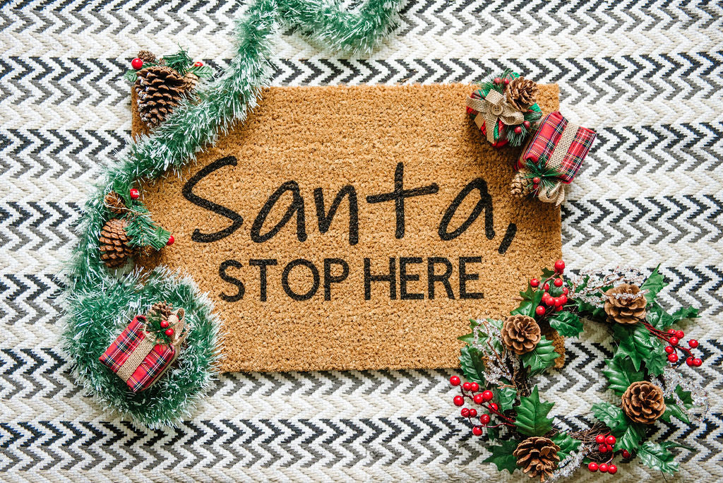 Santa Stop Here Welcome Doormat
