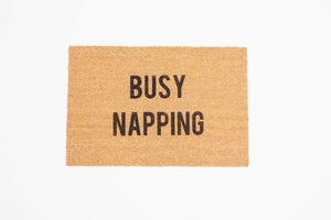 Busy Napping Welcome Door mat