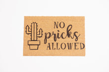 Load image into Gallery viewer, No Pricks Allowed (cactus outline) Welcome Doormat